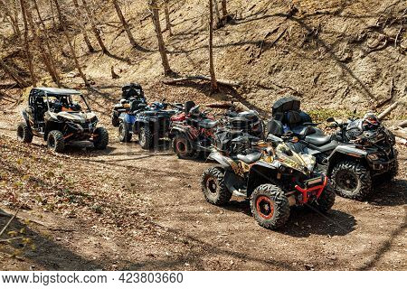 Quad Atv Cars All Terrain Vehicle Parked On Mountain Road