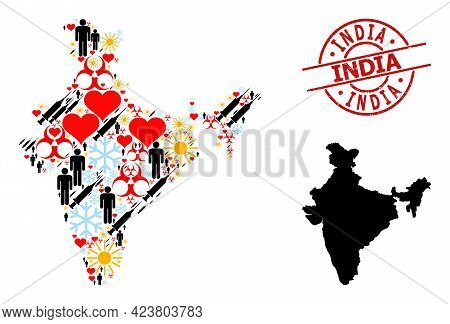 Distress India Stamp, And Sunny Demographics Infection Treatment Collage Map Of India. Red Round Sta