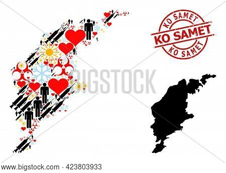 Scratched Ko Samet Stamp Seal, And Winter Humans Syringe Collage Map Of Gotland Island. Red Round St