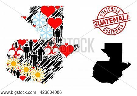Grunge Guatemala Stamp Seal, And Sunny Patients Inoculation Mosaic Map Of Guatemala. Red Round Stamp