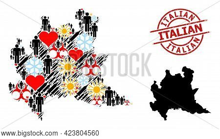Grunge Italian Stamp Seal, And Sunny Patients Vaccine Mosaic Map Of Lombardy Region. Red Round Stamp
