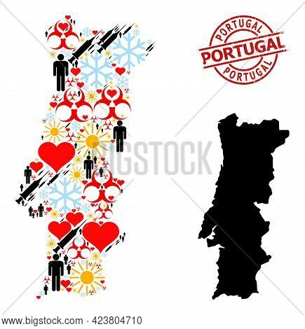 Rubber Portugal Stamp Seal, And Frost Customers Infection Treatment Collage Map Of Portugal. Red Rou