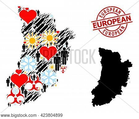 Rubber European Stamp, And Heart Man Infection Treatment Mosaic Map Of Lleida Province. Red Round St