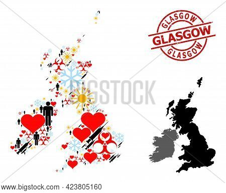 Rubber Glasgow Stamp Seal, And Heart Men Syringe Collage Map Of Great Britain And Ireland. Red Round