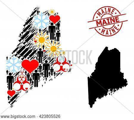 Distress Maine Stamp Seal, And Heart Patients Infection Treatment Mosaic Map Of Maine State. Red Rou