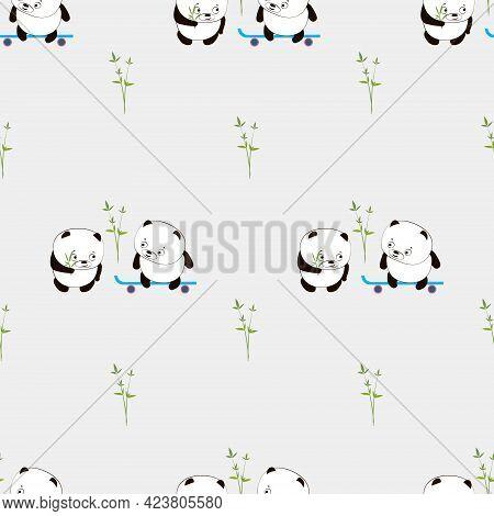 Cute Panda. Cute Animal. Super Cute Cartoon Panda. Seamless Pattern With  Chines Panda. Vector Flat