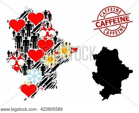 Scratched Caffeine Stamp Seal, And Frost Humans Vaccine Mosaic Map Of Donetsk Republic. Red Round Se