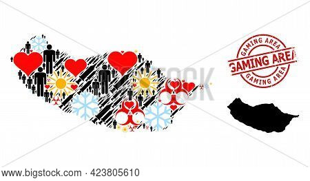 Distress Gaming Area Stamp Seal, And Lovely Population Syringe Mosaic Map Of Madeira Island. Red Rou
