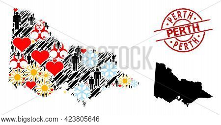 Grunge Perth Stamp Seal, And Frost Humans Syringe Mosaic Map Of Australian Victoria. Red Round Stamp