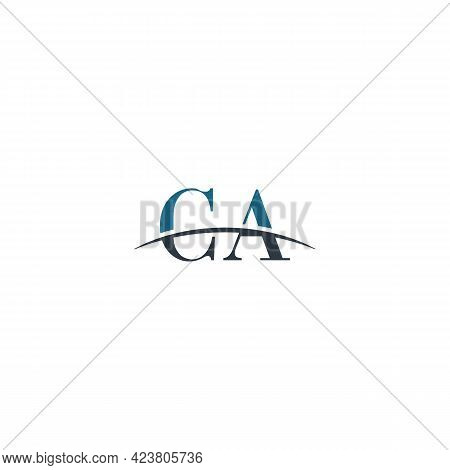 Initial Letter Ca, Overlapping Movement Swoosh Horizon Logo Company Design Inspiration In Blue And G