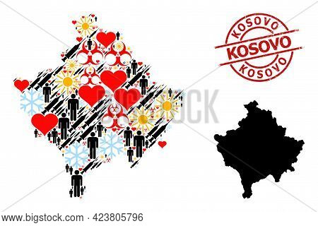 Rubber Kosovo Stamp Seal, And Winter Man Vaccine Mosaic Map Of Kosovo. Red Round Stamp Seal Contains