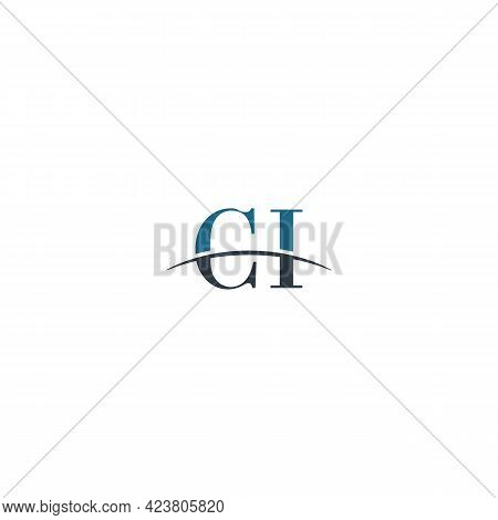 Initial Letter Ci, Overlapping Movement Swoosh Horizon Logo Company Design Inspiration In Blue And G