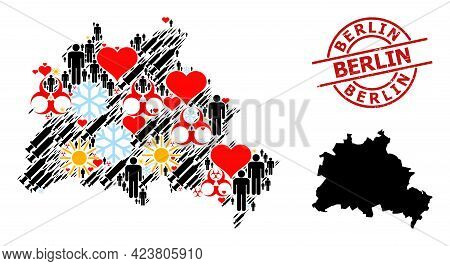 Scratched Berlin Stamp Seal, And Sunny Man Infection Treatment Collage Map Of Berlin City. Red Round