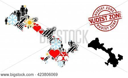 Distress Nudist Zone Badge, And Frost Humans Vaccine Mosaic Map Of Gansu Province. Red Round Stamp S