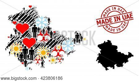 Grunge Made In Uae Stamp Seal, And Heart Man Vaccine Mosaic Map Of Thuringia State. Red Round Stamp