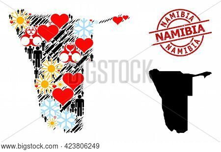 Grunge Namibia Stamp, And Heart People Covid-2019 Treatment Collage Map Of Namibia. Red Round Stamp