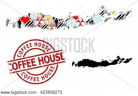 Distress Coffee House Stamp Seal, And Frost People Syringe Mosaic Map Of Indonesia - Flores Islands.