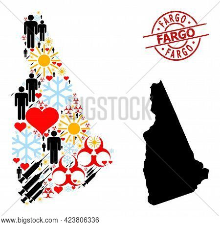 Distress Fargo Stamp Seal, And Lovely Patients Syringe Mosaic Map Of New Hampshire State. Red Round