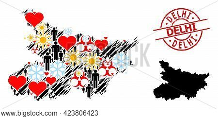 Distress Delhi Badge, And Sunny Man Inoculation Collage Map Of Bihar State. Red Round Seal Has Delhi