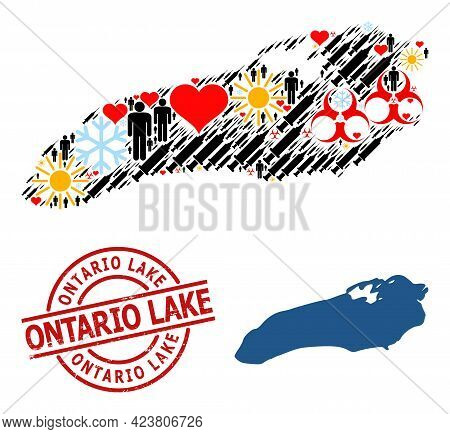 Textured Ontario Lake Seal, And Heart Demographics Infection Treatment Collage Map Of Ontario Lake.