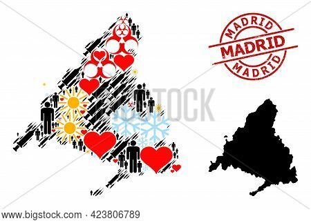Rubber Madrid Seal, And Heart Humans Inoculation Collage Map Of Madrid Province. Red Round Stamp Sea