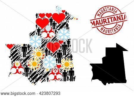 Scratched Mauritania Seal, And Heart Men Infection Treatment Collage Map Of Mauritania. Red Round Se