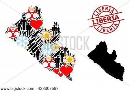Distress Liberia Badge, And Winter Demographics Syringe Mosaic Map Of Liberia. Red Round Badge Conta