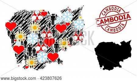 Textured Cambodia Stamp Seal, And Frost Humans Covid-2019 Treatment Mosaic Map Of Cambodia. Red Roun