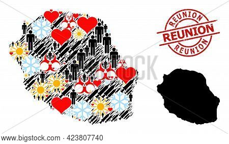 Rubber Reunion Seal, And Frost Men Infection Treatment Mosaic Map Of Reunion Island. Red Round Badge