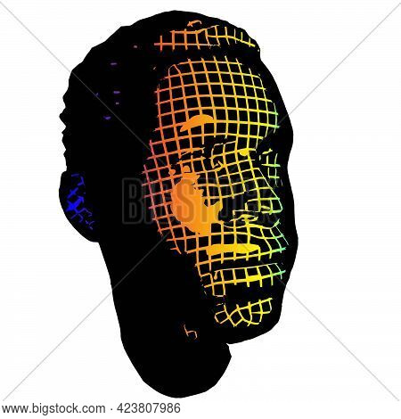 Young Afro Man Face Portrait. 3d Greed Wireframe Head Vector Illustration