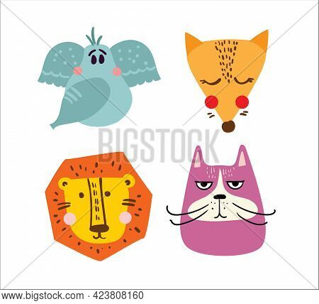Set Of Vector Kid's Cards With Simple Design Of Cute Animals. Perfect For Kid's Banners, Stickers An