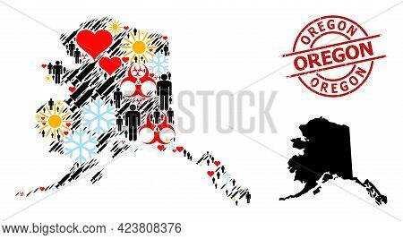Rubber Oregon Badge, And Winter Patients Syringe Collage Map Of Alaska State. Red Round Badge Contai