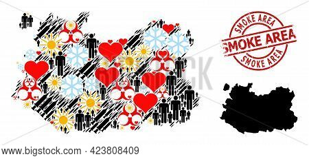 Distress Smoke Area Stamp Seal, And Spring Humans Vaccine Collage Map Of Ciudad Real Province. Red R