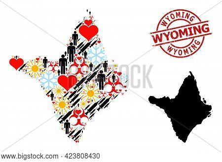 Textured Wyoming Stamp, And Lovely Population Virus Therapy Mosaic Map Of Amapa State. Red Round Sta