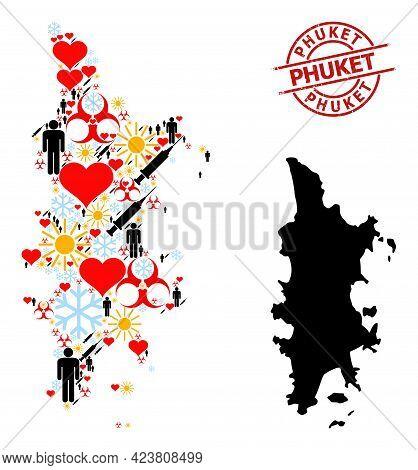 Distress Phuket Badge, And Spring Humans Vaccine Collage Map Of Phuket. Red Round Badge Has Phuket C