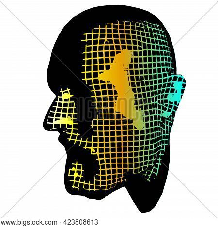 Old Evro Man Face Portrait. 3d Greed Wireframe Head Vector Illustration