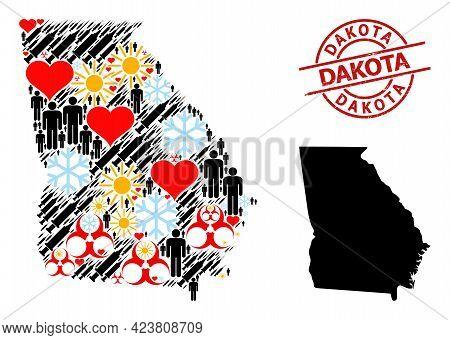 Grunge Dakota Stamp Seal, And Sunny Population Vaccine Mosaic Map Of Georgia State. Red Round Stamp