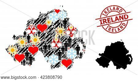 Textured Ireland Badge, And Heart People Virus Therapy Mosaic Map Of Northern Ireland. Red Round Sta