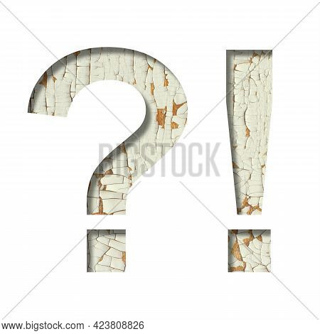 Rustic Font. Exclamation And Question Marks Cut Out Of Paper On The Background Of Old Rustic Wall Wi