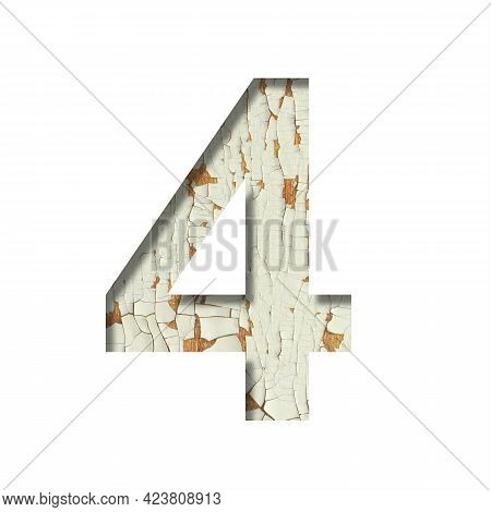 Rustic Font. Digit Four, 4 Cut Out Of Paper On The Background Of Old Rustic Wall With Peeling Paint