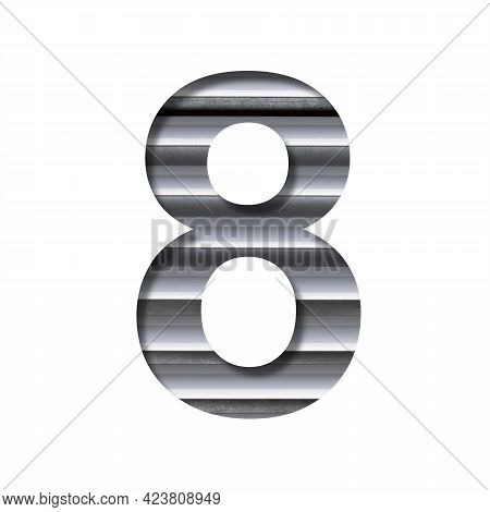 Modern Industrial Font. The Digit Eight, 8 Cut Out Of Paper On The Background Of Industrial Ventilat