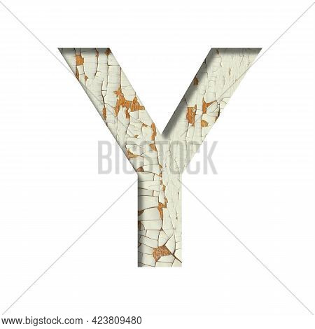 Rustic Font. The Letter Y Cut Out Of Paper On The Background Of Old Rustic Wall With Peeling Paint A