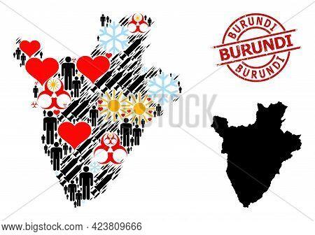 Textured Burundi Stamp, And Winter Population Inoculation Collage Map Of Burundi. Red Round Stamp Se