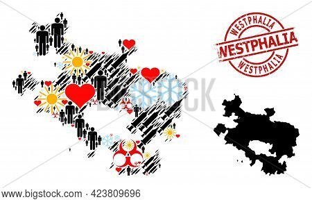 Scratched Westphalia Seal, And Sunny People Infection Treatment Mosaic Map Of Alava Province. Red Ro