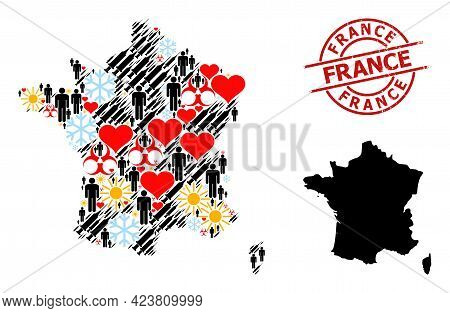 Grunge France Stamp Seal, And Frost Demographics Virus Therapy Mosaic Map Of France. Red Round Stamp