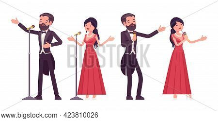 Musician, Elegant Man And Woman Singing, Professional Concert Performer. Classical Music Event, Cere