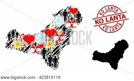 Rubber Ko Lanta Stamp, And Spring Men Infection Treatment Mosaic Map Of El Hierro Island. Red Round