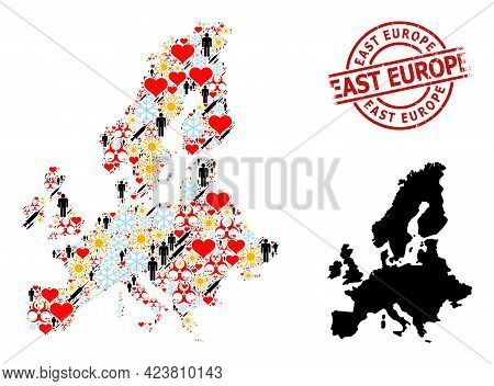 Distress East Europe Stamp Seal, And Sunny People Syringe Mosaic Map Of Euro Union. Red Round Stamp
