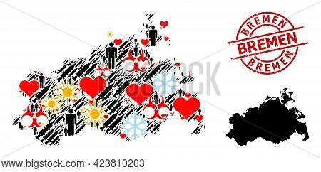 Textured Bremen Stamp Seal, And Winter People Virus Therapy Mosaic Map Of Mecklenburg-vorpommern Sta