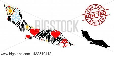 Grunge Koh Tao Stamp Seal, And Heart Humans Vaccine Mosaic Map Of Curacao Island. Red Round Seal Has